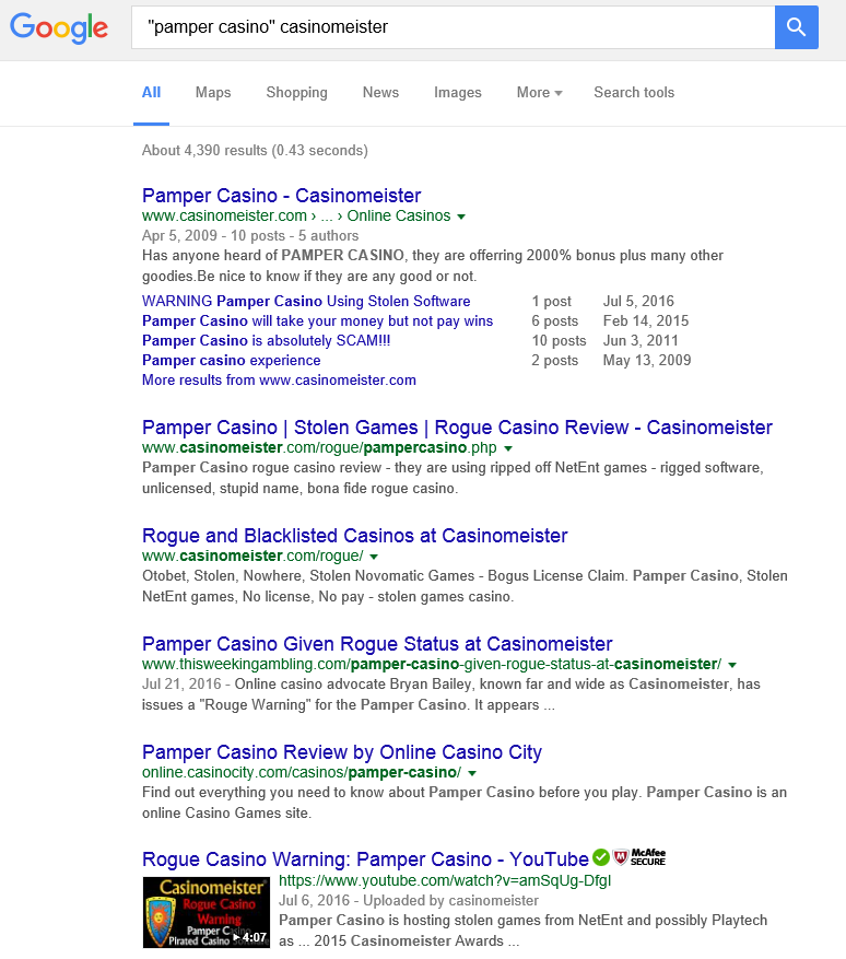 Better Pamper casino google results