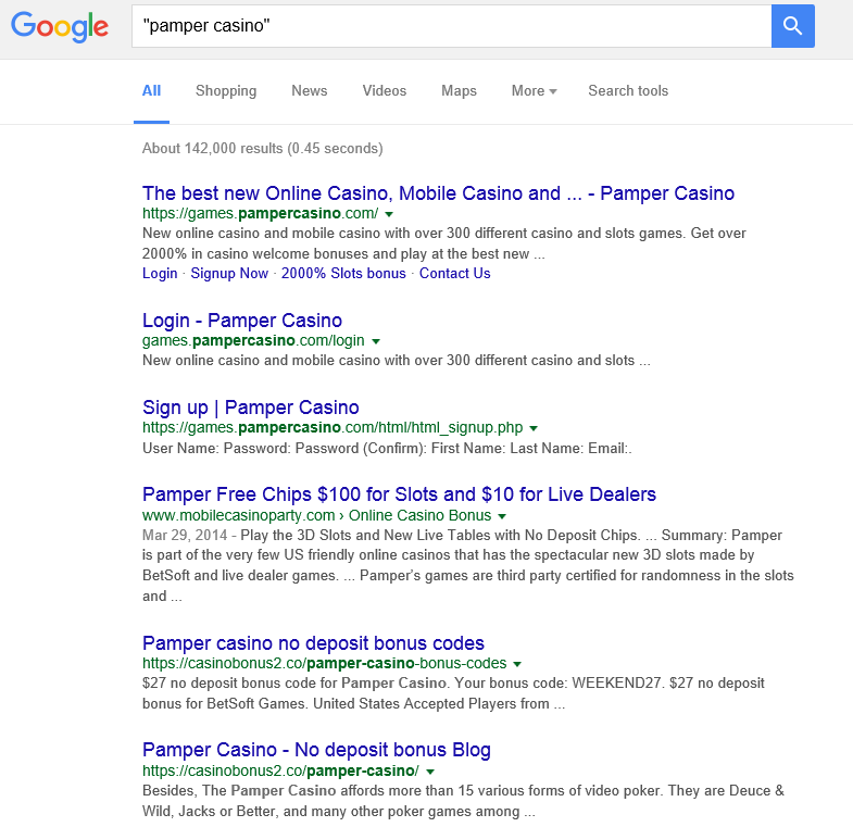 Pamper casino google results