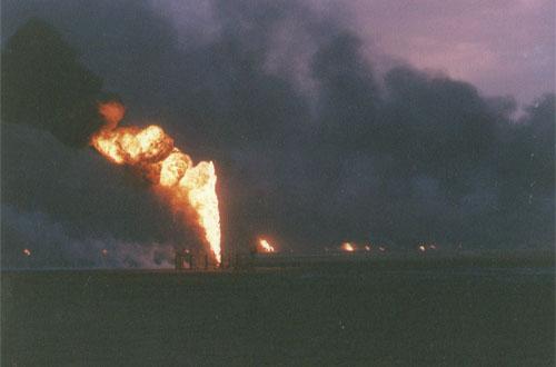 Buring Oilwells - Kuwait