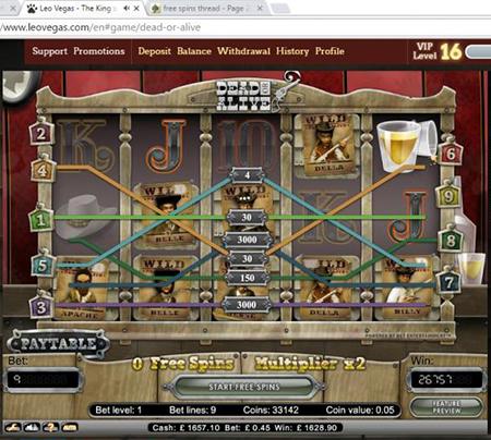 Leovegas winner screenshot - Dead or Alive - DOA