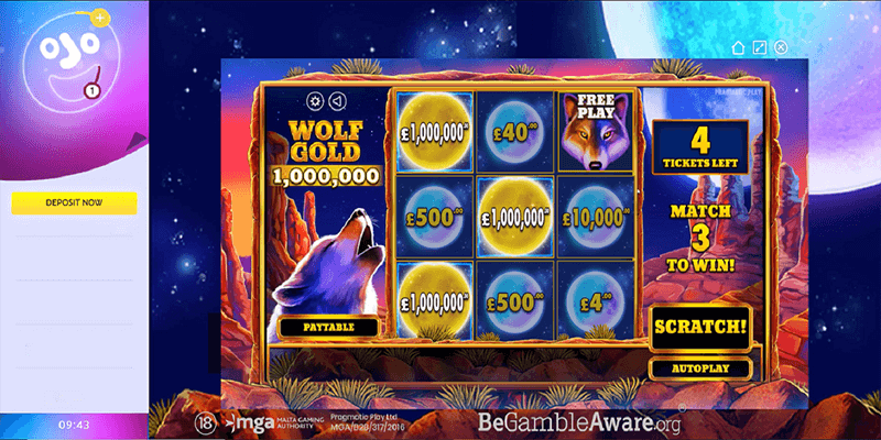 Lucky PlayOJO Player cashes out £1m on Pragmatic Play's Wolf Gold Scratchcard