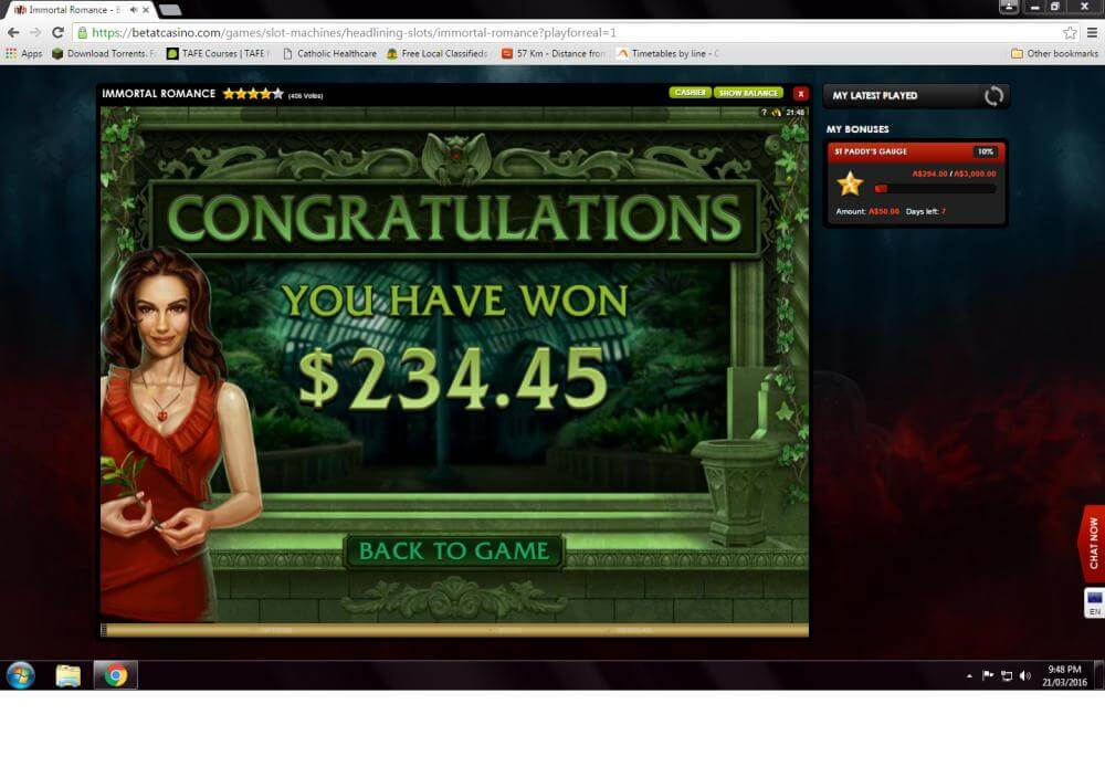 Betat Immortal Romance Winner's Screenshot Microgaming