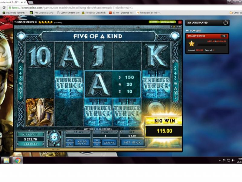Betat Thunderstruck II Winner's Screenshot Microgaming