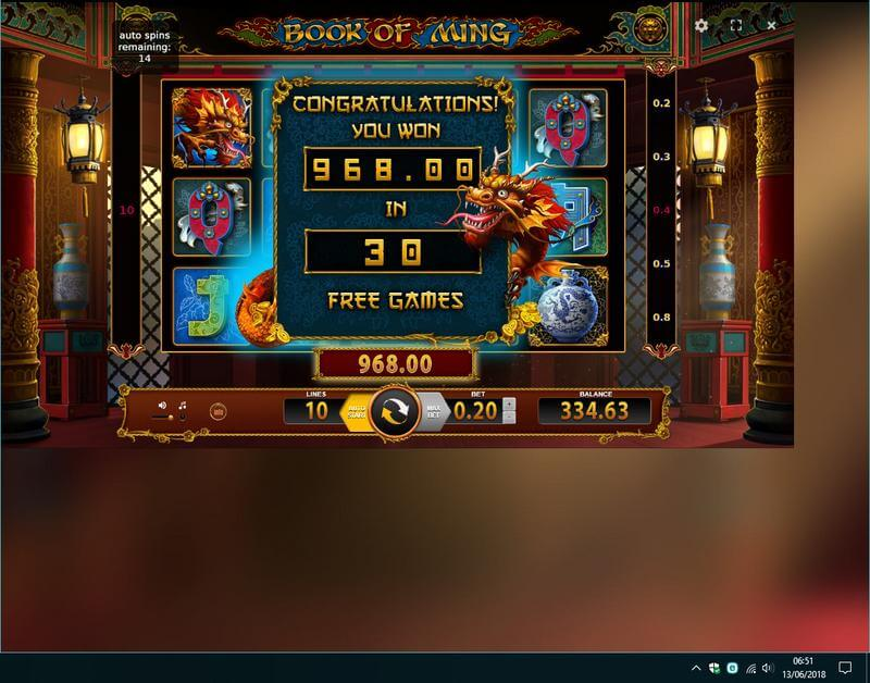 Book of Ming - awesome win from 30 freespins - thanks Nicola!!