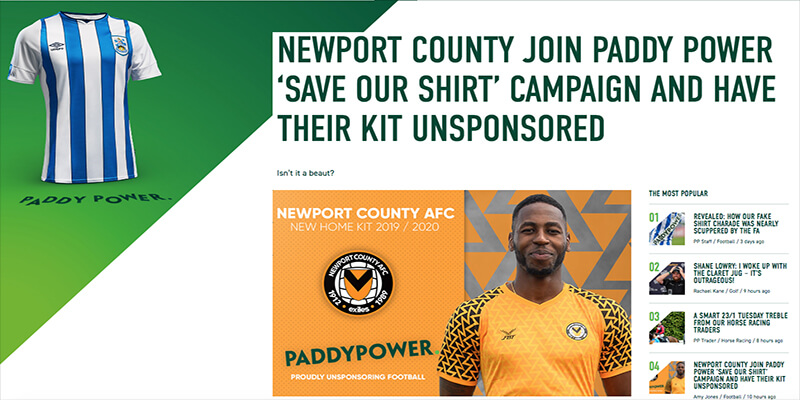 Paddy Power Expand Save our Shirt Campaign