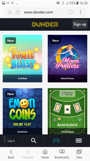 Dunder Casino Mobile Games