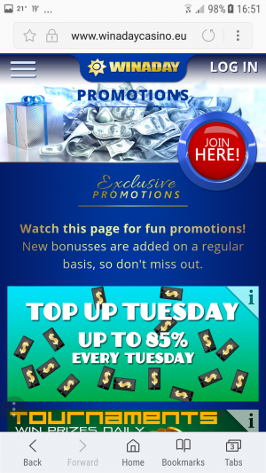 Winaday mobile promotions