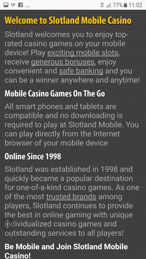 Slotland Mobile intro