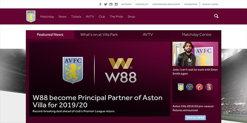 Aston Villa Pen Record Breaking Sponsorship Deal with W88