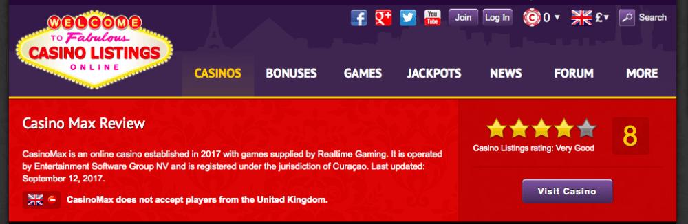 Screenshot that shows a British location