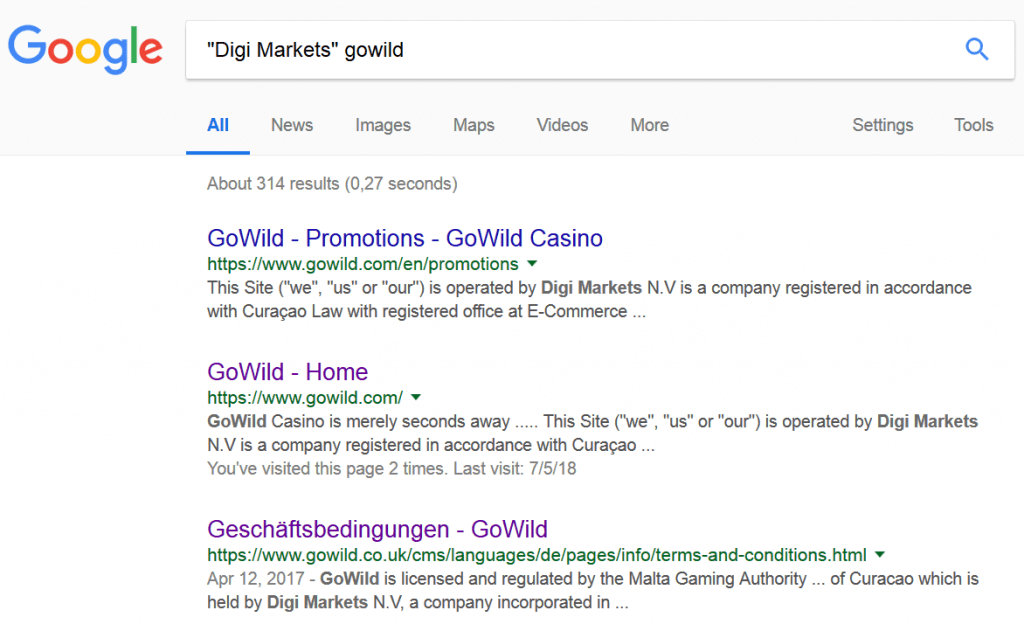 "Google search for ""Digi markets"" Wild Jackpot"