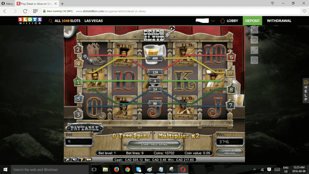 Slotsmillion Dead or Alive win - thanks to Locknlove