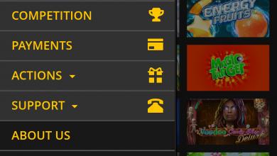 LVbet mobile menu