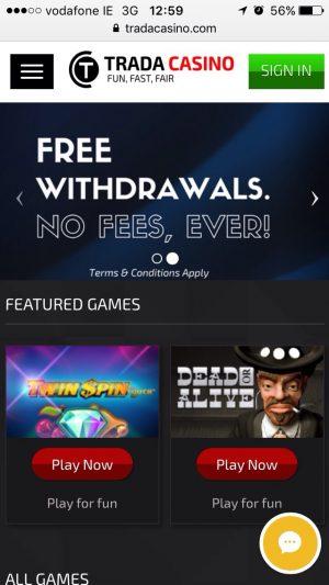 trada casino mobile