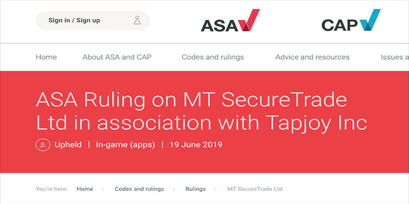 ASA Rule on MTSecure / Dunder Affiliate Advert