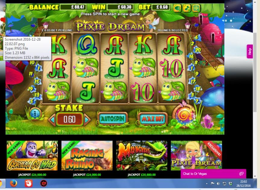 Pixie Dream slots at Dr Vegas - thanks to Spintee