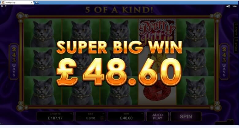 Pretty Kitty Slots Winner Screenshot Aztec Riches Thanks to McGameboy for his awesome screenshot.
