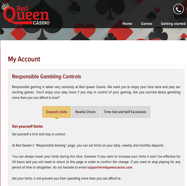 Red Queen Casino - Responsible Gambling