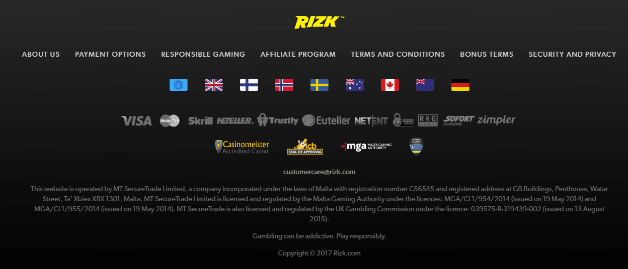Rizk Online Casino Awards – Casinomeister Awards 2016