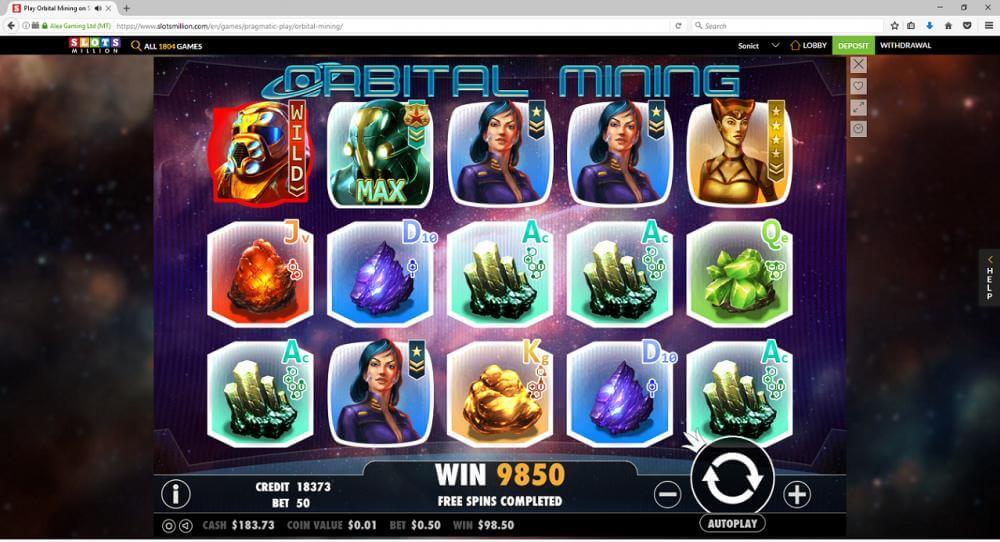Orbital Mining slots win - thanks to Sonict